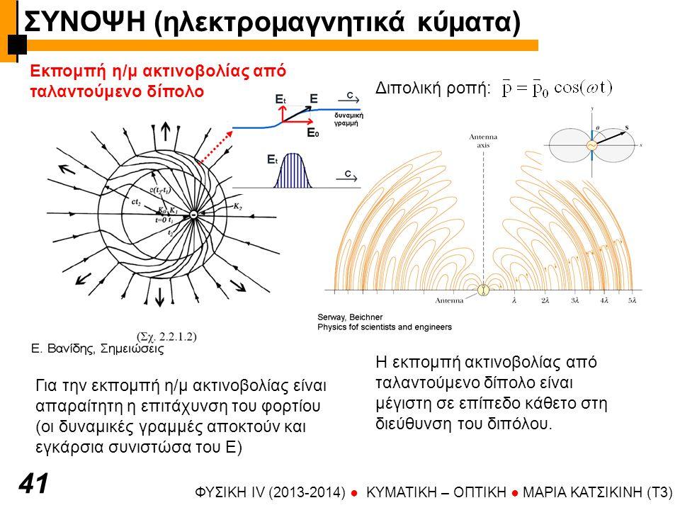 ΦΥΣΙΚΗ IV (2013-2014) ● KYMATIKH – OΠTIKH ● ΜΑΡΙΑ ΚΑΤΣΙΚΙΝΗ (T3) 41 Εκπομπή η/μ ακτινοβολίας από ταλαντούμενο δίπολο Για την εκπομπή η/μ ακτινοβολίας