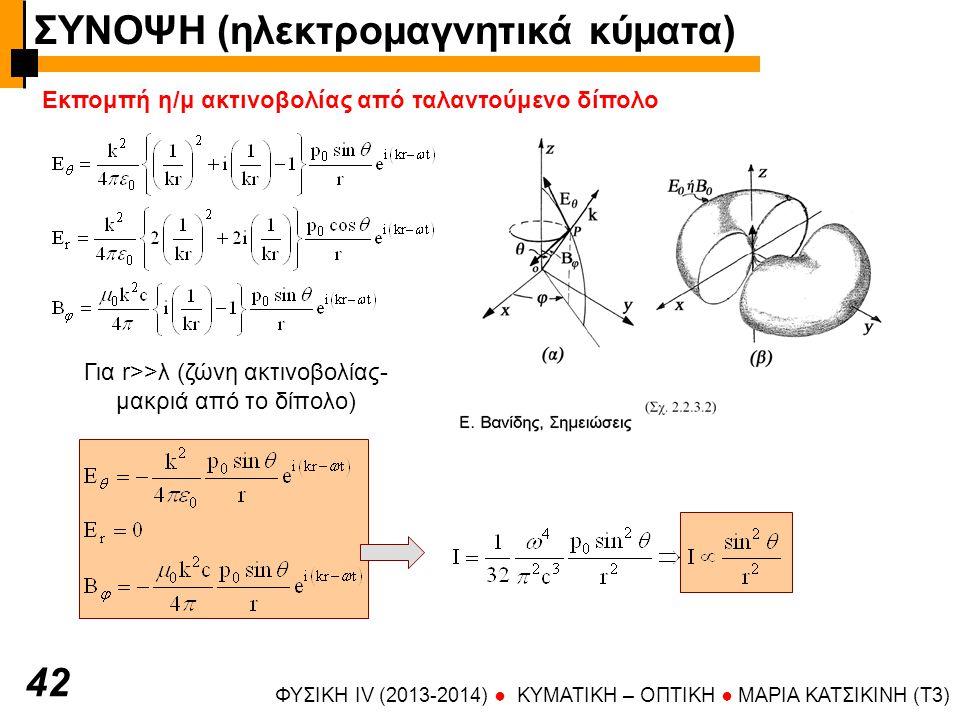 ΦΥΣΙΚΗ IV (2013-2014) ● KYMATIKH – OΠTIKH ● ΜΑΡΙΑ ΚΑΤΣΙΚΙΝΗ (T3) 42 Εκπομπή η/μ ακτινοβολίας από ταλαντούμενο δίπολο Για r>>λ (ζώνη ακτινοβολίας- μακριά από το δίπολο) ΣΥΝΟΨΗ (ηλεκτρομαγνητικά κύματα)