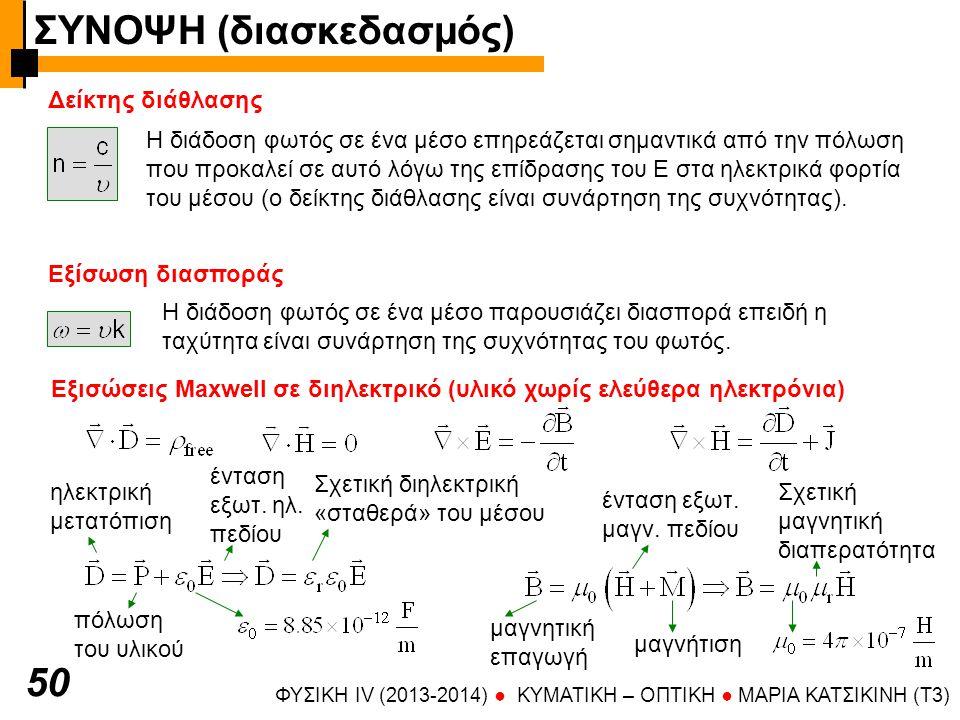 ΦΥΣΙΚΗ IV (2013-2014) ● KYMATIKH – OΠTIKH ● ΜΑΡΙΑ ΚΑΤΣΙΚΙΝΗ (T3) 50 Δείκτης διάθλασης Η διάδοση φωτός σε ένα μέσο επηρεάζεται σημαντικά από την πόλωση που προκαλεί σε αυτό λόγω της επίδρασης του Ε στα ηλεκτρικά φορτία του μέσου (ο δείκτης διάθλασης είναι συνάρτηση της συχνότητας).
