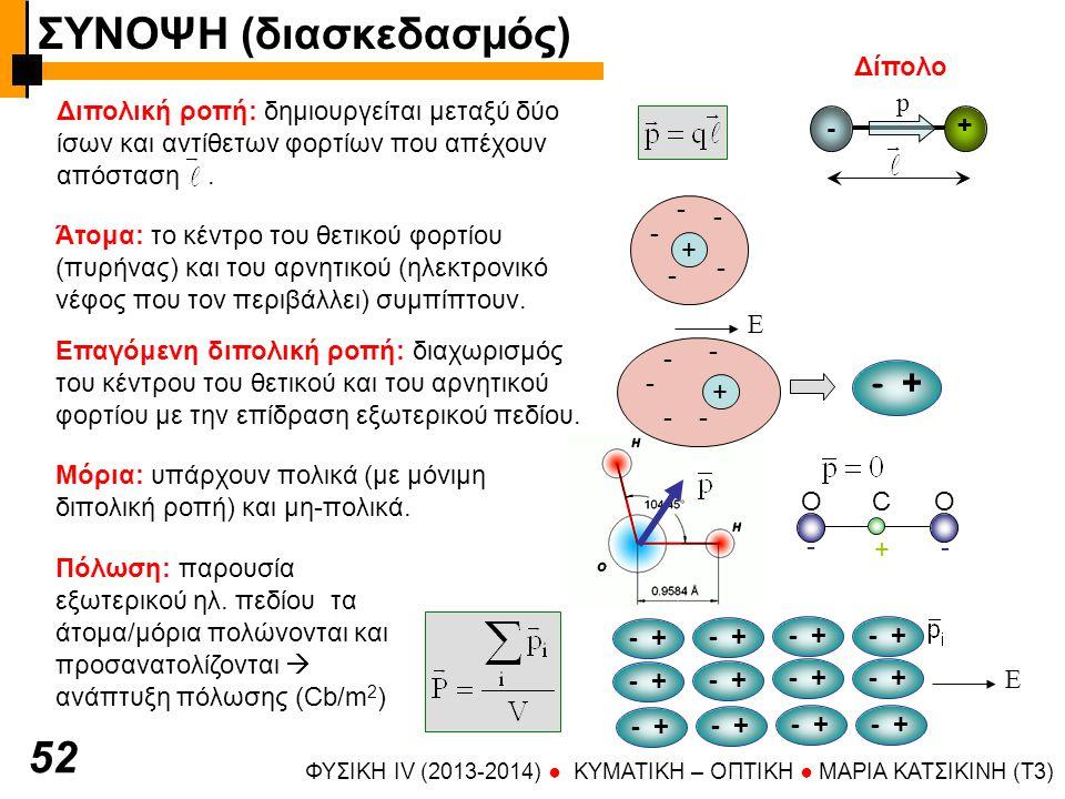 ΦΥΣΙΚΗ IV (2013-2014) ● KYMATIKH – OΠTIKH ● ΜΑΡΙΑ ΚΑΤΣΙΚΙΝΗ (T3) 52 - + p Διπολική ροπή: δημιουργείται μεταξύ δύο ίσων και αντίθετων φορτίων που απέχουν απόσταση.