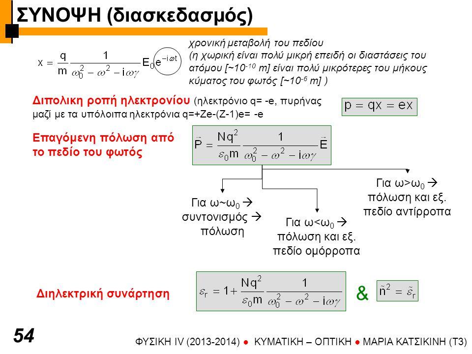 ΦΥΣΙΚΗ IV (2013-2014) ● KYMATIKH – OΠTIKH ● ΜΑΡΙΑ ΚΑΤΣΙΚΙΝΗ (T3) 54 Διπολικη ροπή ηλεκτρονίου (ηλεκτρόνιο q= -e, πυρήνας μαζί με τα υπόλοιπα ηλεκτρόνια q=+Ze-(Z-1)e= -e χρονική μεταβολή του πεδίου (η χωρική είναι πολύ μικρή επειδή οι διαστάσεις του ατόμου [~10 -10 m] είναι πολύ μικρότερες του μήκους κύματος του φωτός [~10 -6 m] ) Επαγόμενη πόλωση από το πεδίο του φωτός Για ω~ω 0  συντονισμός  πόλωση Για ω<ω 0  πόλωση και εξ.
