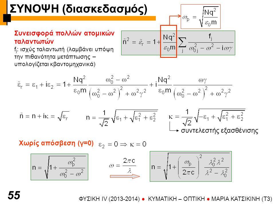 ΦΥΣΙΚΗ IV (2013-2014) ● KYMATIKH – OΠTIKH ● ΜΑΡΙΑ ΚΑΤΣΙΚΙΝΗ (T3) 55 Συνεισφορά πολλών ατομικών ταλαντωτών f j : ισχύς ταλαντωτή (λαμβάνει υπόψη την πιθανότητα μετάπτωσης – υπολογίζεται κβαντομηχανικά) συντελεστής εξασθένισης Χωρίς απόσβεση (γ=0) ΣΥΝΟΨΗ (διασκεδασμός)
