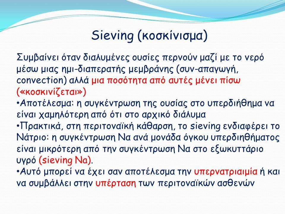 Sieving (κοσκίνισμα) Συμβαίνει όταν διαλυμένες ουσίες περνούν μαζί με το νερό μέσω μιας ημι-διαπερατής μεμβράνης (συν-απαγωγή, convection) αλλά μια πο