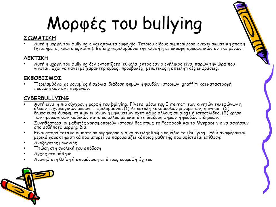 Μορφές του bullying ΣΩΜΑΤΙΚΗ Αυτή η μορφή του bullying είναι απόλυτα εμφανής. Τέτοιου είδους συμπεριφορά ενέχει σωματική επαφή (χτυπήματα, κλωτσιές κ.
