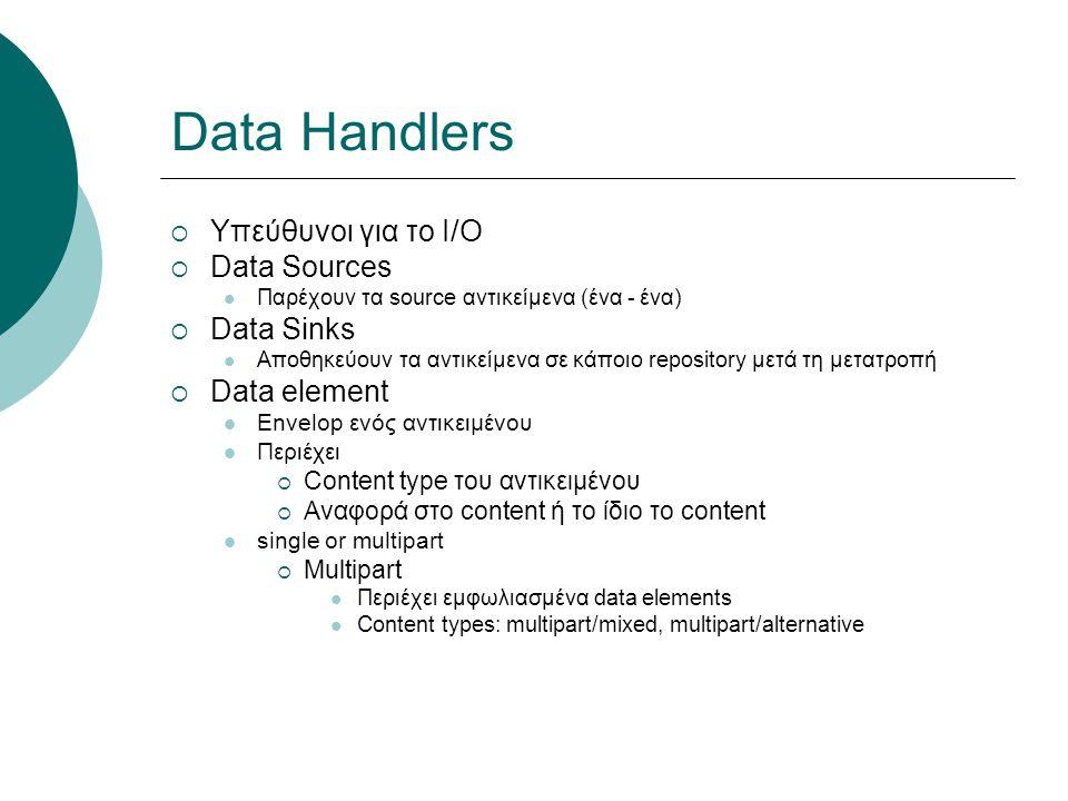 Data Handlers  Υπεύθυνοι για το I/O  Data Sources Παρέχουν τα source αντικείμενα (ένα - ένα)  Data Sinks Αποθηκεύουν τα αντικείμενα σε κάποιο repository μετά τη μετατροπή  Data element Envelop ενός αντικειμένου Περιέχει  Content type του αντικειμένου  Αναφορά στο content ή το ίδιο το content single or multipart  Multipart Περιέχει εμφωλιασμένα data elements Content types: multipart/mixed, multipart/alternative