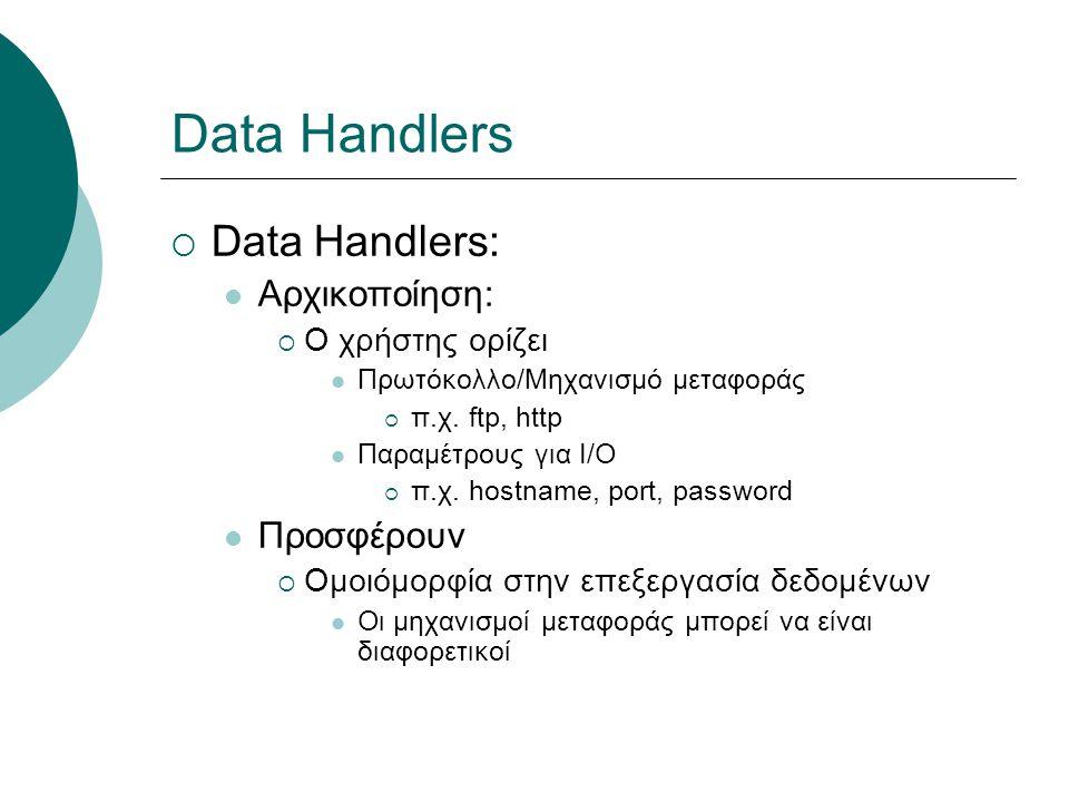 Data Handlers  Data Handlers: Αρχικοποίηση:  Ο χρήστης ορίζει Πρωτόκολλο/Μηχανισμό μεταφοράς  π.χ. ftp, http Παραμέτρους για I/O  π.χ. hostname, p