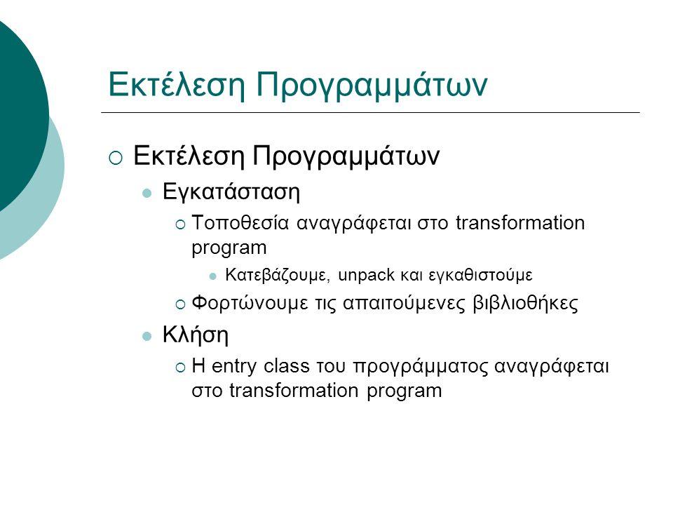 Εκτέλεση Προγραμμάτων  Εκτέλεση Προγραμμάτων Εγκατάσταση  Τοποθεσία αναγράφεται στο transformation program Κατεβάζουμε, unpack και εγκαθιστούμε  Φορτώνουμε τις απαιτούμενες βιβλιοθήκες Κλήση  Η entry class του προγράμματος αναγράφεται στο transformation program