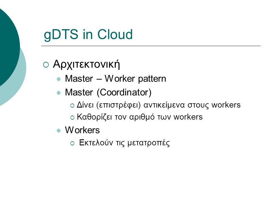 gDTS in Cloud  Αρχιτεκτονική Master – Worker pattern Master (Coordinator)  Δίνει (επιστρέφει) αντικείμενα στους workers  Καθορίζει τον αριθμό των workers Workers  Εκτελούν τις μετατροπές