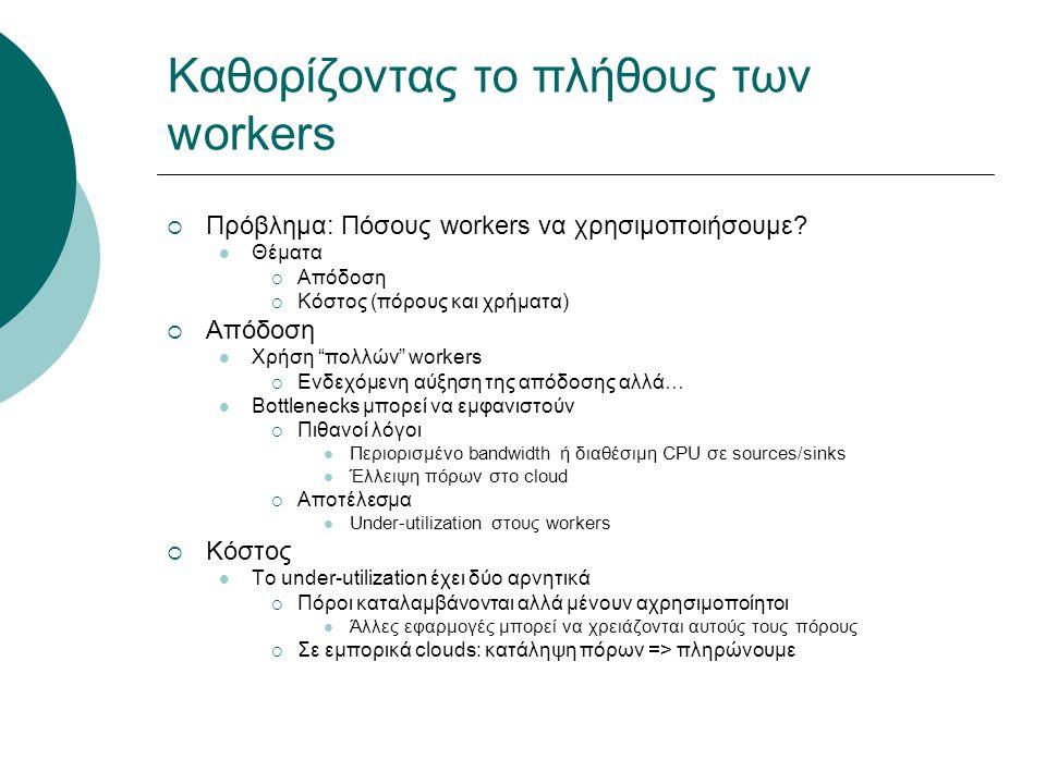 """Καθορίζοντας το πλήθους των workers  Πρόβλημα: Πόσους workers να χρησιμοποιήσουμε? Θέματα  Απόδοση  Κόστος (πόρους και χρήματα)  Απόδοση Χρήση """"πο"""