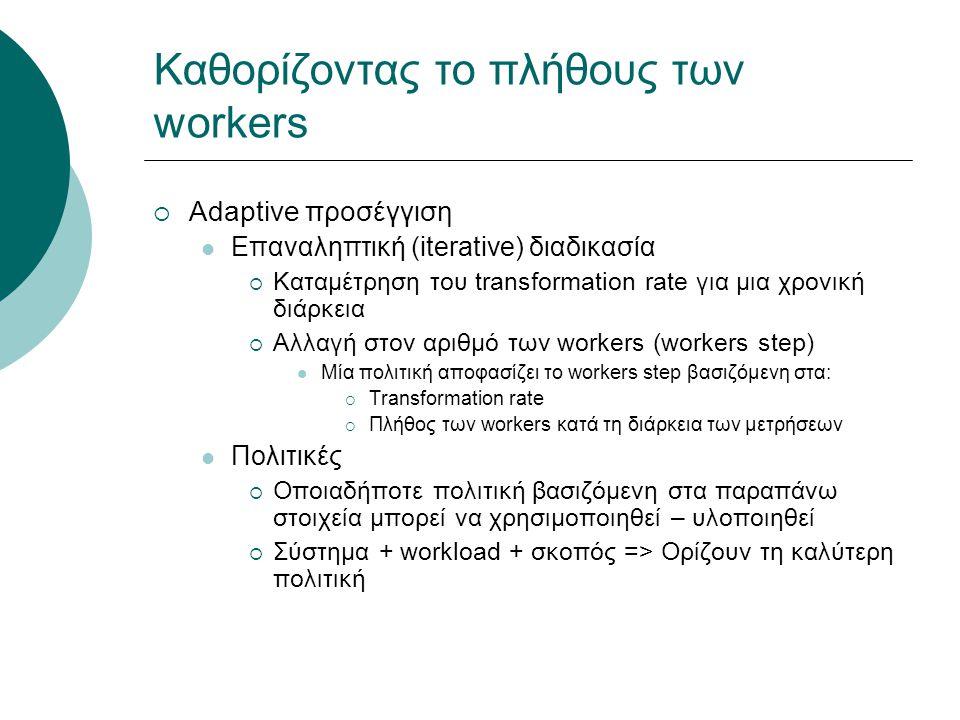 Καθορίζοντας το πλήθους των workers  Adaptive προσέγγιση Επαναληπτική (iterative) διαδικασία  Καταμέτρηση του transformation rate για μια χρονική διάρκεια  Αλλαγή στον αριθμό των workers (workers step) Μία πολιτική αποφασίζει το workers step βασιζόμενη στα:  Transformation rate  Πλήθος των workers κατά τη διάρκεια των μετρήσεων Πολιτικές  Οποιαδήποτε πολιτική βασιζόμενη στα παραπάνω στοιχεία μπορεί να χρησιμοποιηθεί – υλοποιηθεί  Σύστημα + workload + σκοπός => Ορίζουν τη καλύτερη πολιτική
