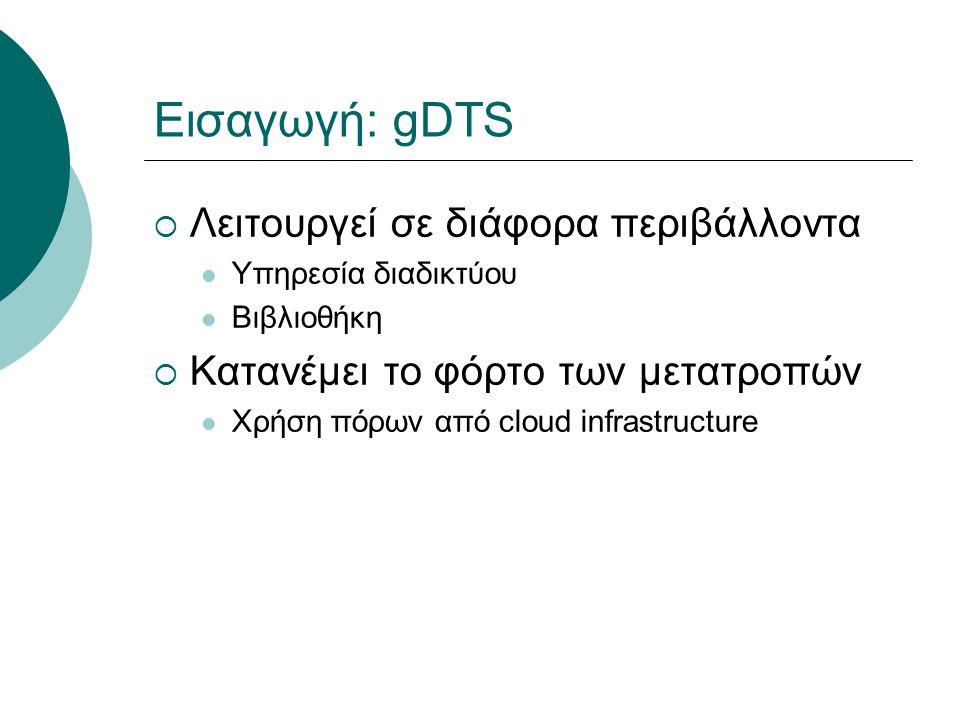Εισαγωγή: gDTS  Λειτουργεί σε διάφορα περιβάλλοντα Υπηρεσία διαδικτύου Bιβλιοθήκη  Κατανέμει το φόρτο των μετατροπών Χρήση πόρων από cloud infrastru