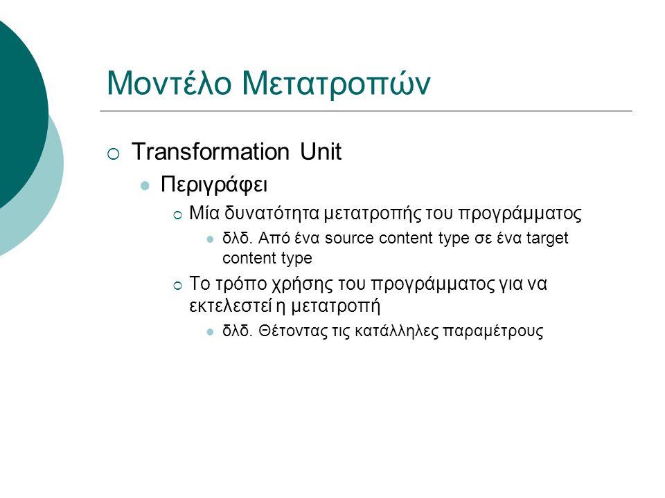 Μοντέλο Μετατροπών  Transformation Unit Σύνθετο (composite)  Έχει αναφορές σε άλλα transformation units  Εκτελεί διαδοχικές μετατροπές στο source αντικείμενο Άλλα χαρακτηριστικά  wildcards στα content types των transformation units image/jpeg  image/jpeg; width= * , height= * */*  application/zip  wildcards στις παραμέτρους των προγραμμάτων Το '-' απαιτεί τον καθορισμό τιμής από τον χρήστη