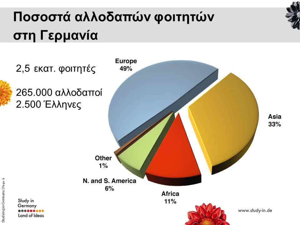 Studying in Germany   Page 6 Ποσοστά αλλοδαπών φοιτητών στη Γερμανία 2,5 εκατ. φοιτητές 265.000 αλλοδαποί 2.500 Έλληνες