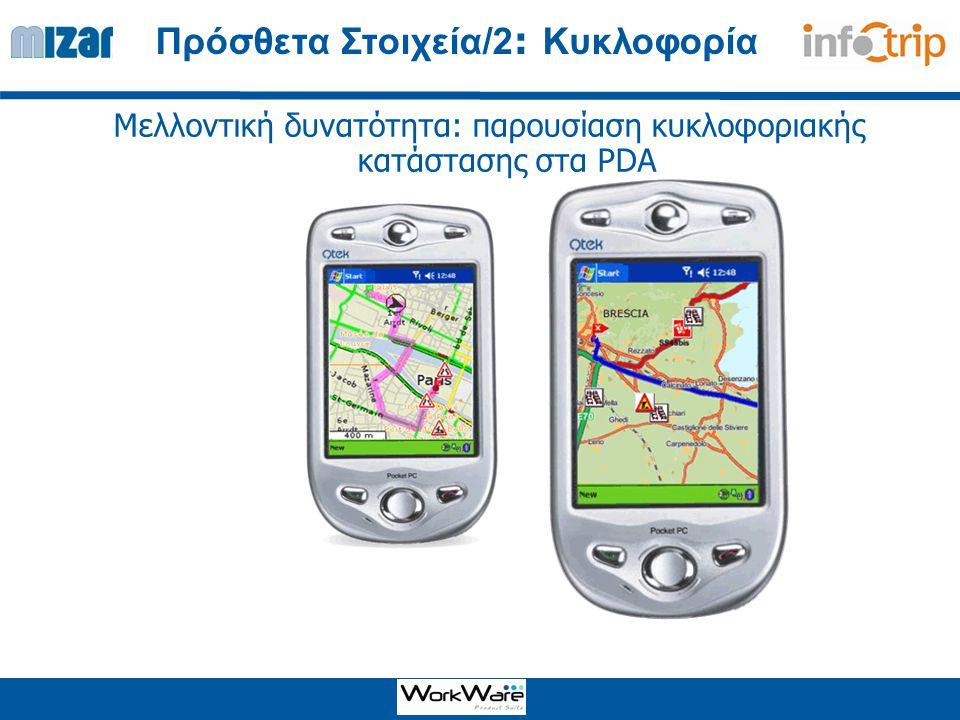 Μελλοντική δυνατότητα: παρουσίαση κυκλοφοριακής κατάστασης στα PDA Πρόσθετα Στοιχεία/2 : Κυκλοφορία