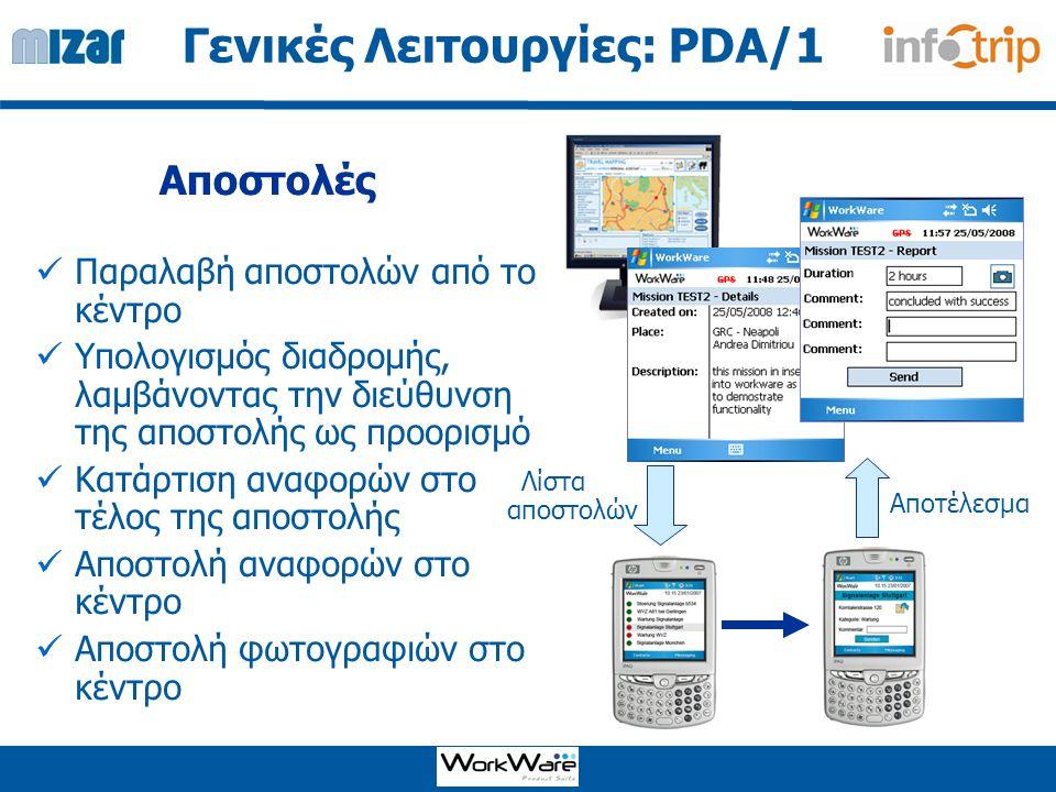 Εύρεση Διεύθυνσης Χαρτογράφηση Υπολογισμός διαδρομής Γενικές Λειτουργίες: PDA/2