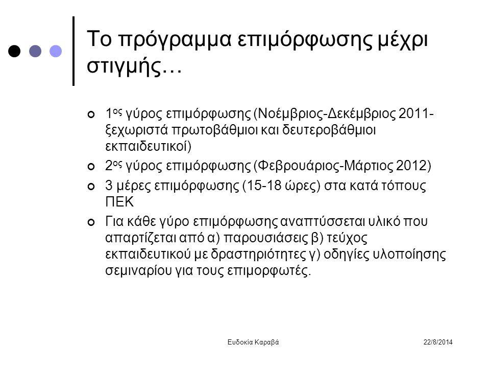 Το πρόγραμμα επιμόρφωσης μέχρι στιγμής… 1 ος γύρος επιμόρφωσης (Νοέμβριος-Δεκέμβριος 2011- ξεχωριστά πρωτοβάθμιοι και δευτεροβάθμιοι εκπαιδευτικοί) 2