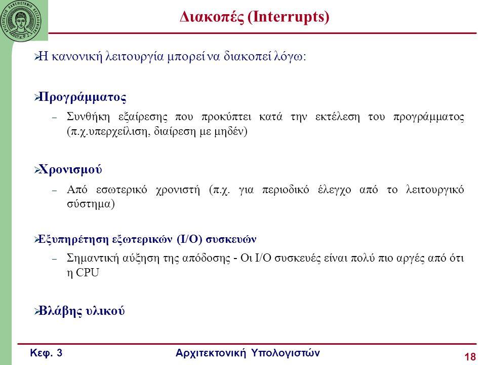 Κεφ. 3 Αρχιτεκτονική Υπολογιστών 18 Διακοπές (Interrupts)  Η κανονική λειτουργία μπορεί να διακοπεί λόγω:  Προγράμματος – Συνθήκη εξαίρεσης που προκ