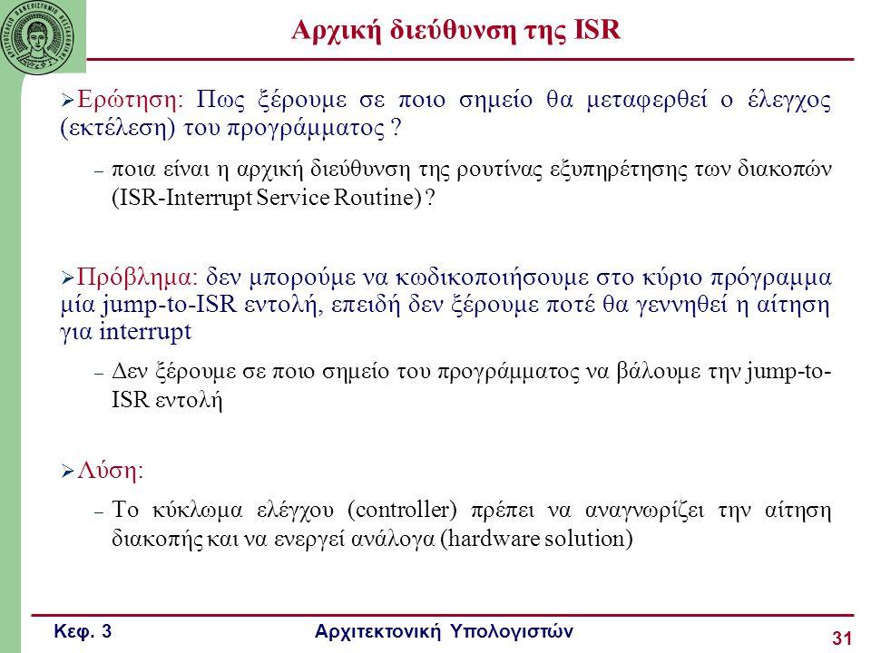 Κεφ. 3 Αρχιτεκτονική Υπολογιστών 31 Αρχική διεύθυνση της ISR  Ερώτηση: Πως ξέρουμε σε ποιο σημείο θα μεταφερθεί ο έλεγχος (εκτέλεση) του προγράμματος