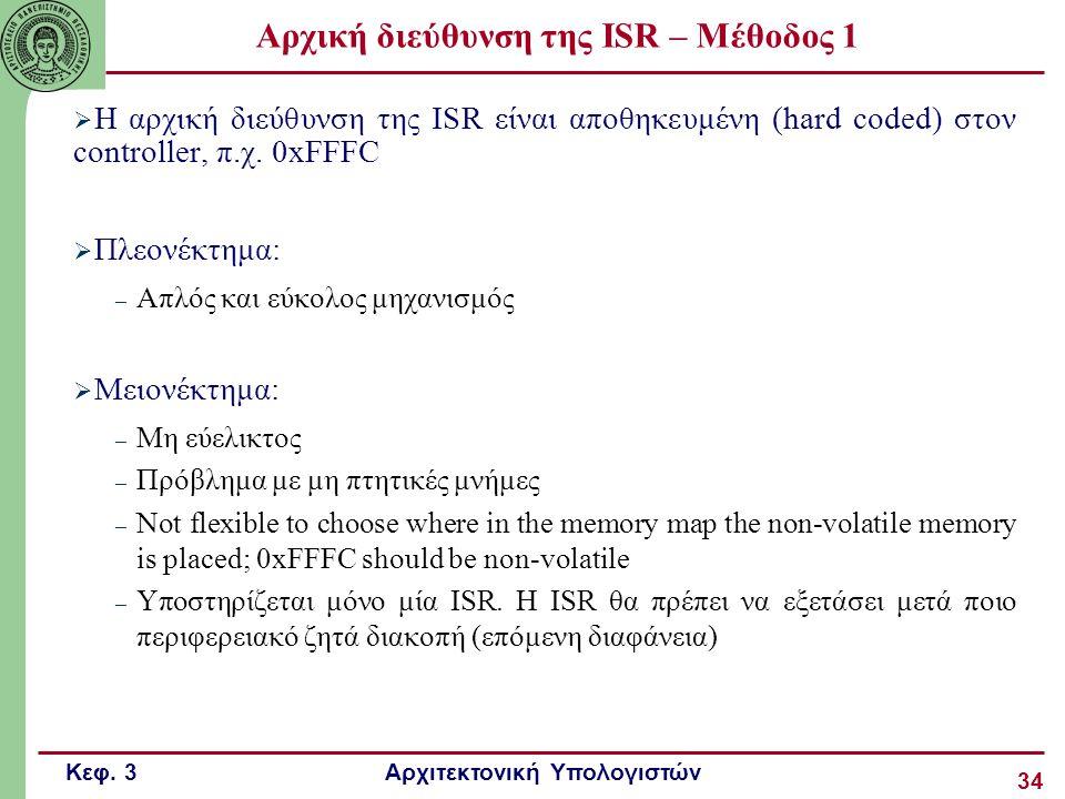 Κεφ. 3 Αρχιτεκτονική Υπολογιστών 34 Αρχική διεύθυνση της ISR – Μέθοδος 1  Η αρχική διεύθυνση της ISR είναι αποθηκευμένη (hard coded) στον controller,