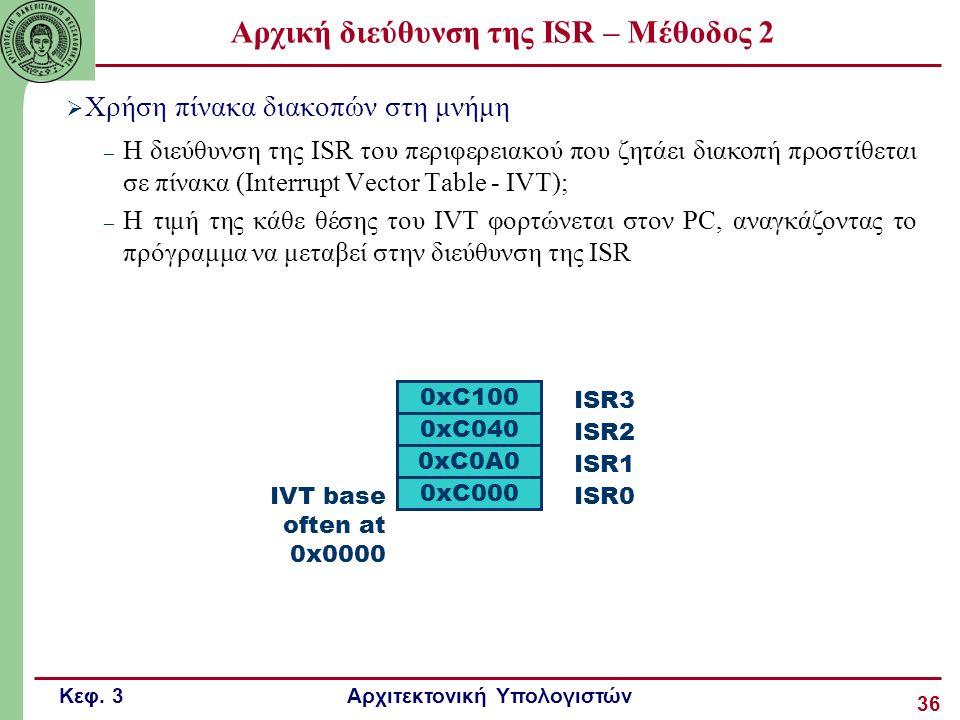 Κεφ. 3 Αρχιτεκτονική Υπολογιστών 36 Αρχική διεύθυνση της ISR – Μέθοδος 2  Χρήση πίνακα διακοπών στη μνήμη – H διεύθυνση της ISR του περιφερειακού που