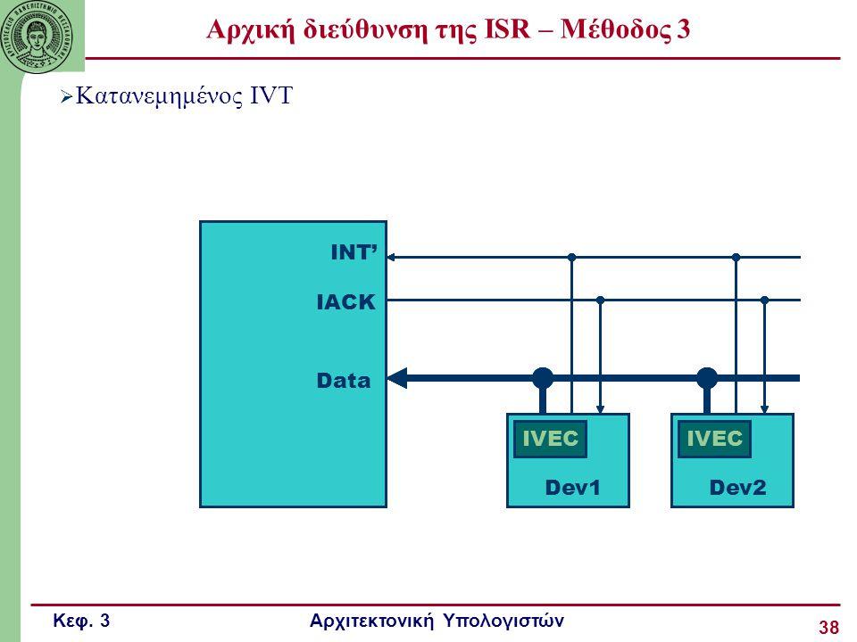 Κεφ. 3 Αρχιτεκτονική Υπολογιστών 38 Αρχική διεύθυνση της ISR – Μέθοδος 3  Κατανεμημένος IVT INT' IACK IVEC Data Dev2Dev1 INT' IACK IVEC Data Dev2Dev1