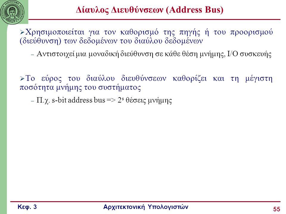 Κεφ. 3 Αρχιτεκτονική Υπολογιστών 55 Δίαυλος Διευθύνσεων (Address Bus)  Χρησιμοποιείται για τον καθορισμό της πηγής ή του προορισμού (διεύθυνση) των δ