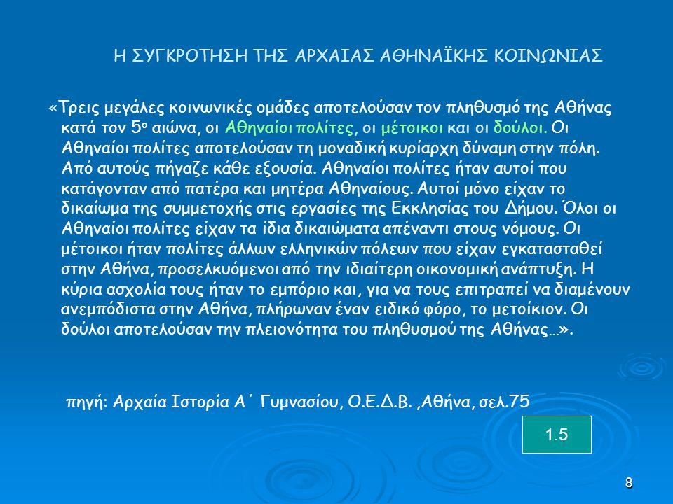 8 Η ΣΥΓΚΡΟΤΗΣΗ ΤΗΣ ΑΡΧΑΙΑΣ ΑΘΗΝΑΪΚΗΣ ΚΟΙΝΩΝΙΑΣ « Τρεις μεγάλες κοινωνικές ομάδες αποτελούσαν τον πληθυσμό της Αθήνας κατά τον 5 ο αιώνα, οι Αθηναίοι πολίτες, οι μέτοικοι και οι δούλοι.