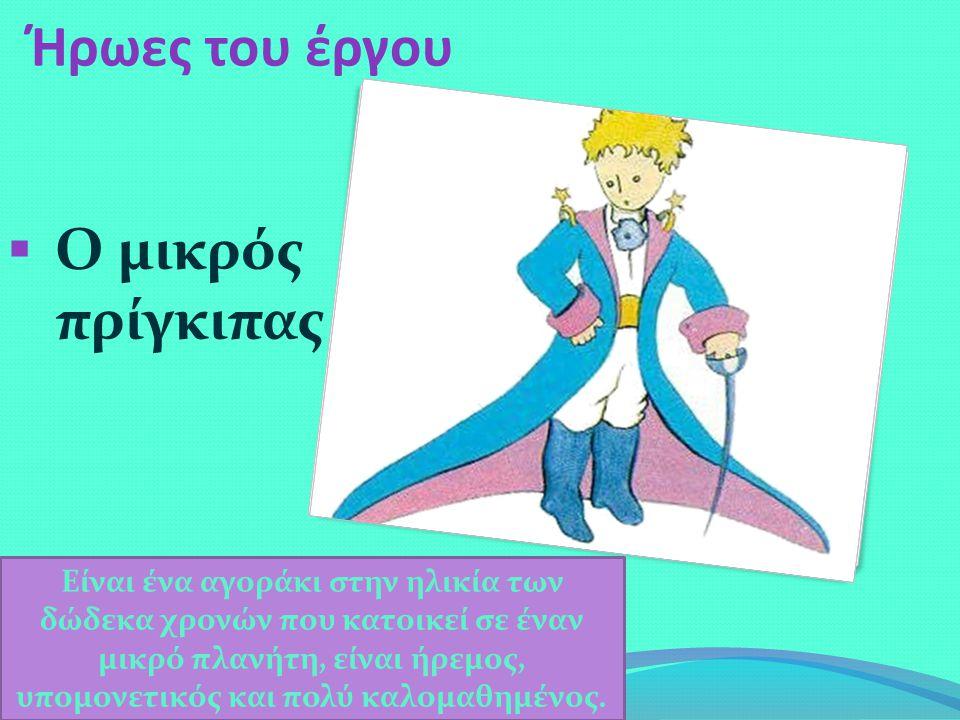 Ήρωες του έργου  Ο μικρός πρίγκιπας Είναι ένα αγοράκι στην ηλικία των δώδεκα χρονών που κατοικεί σε έναν μικρό πλανήτη, είναι ήρεμος, υπομονετικός και πολύ καλομαθημένος.