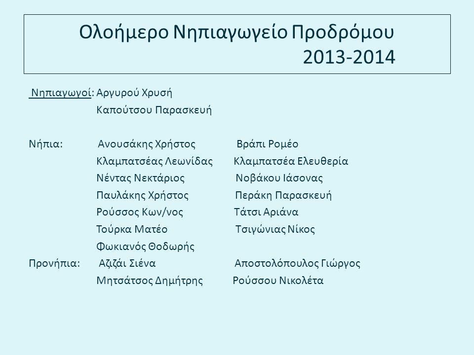 Ολοήμερο Νηπιαγωγείο Προδρόμου 2013-2014 Νηπιαγωγοί: Αργυρού Χρυσή Καπούτσου Παρασκευή Νήπια: Ανουσάκης Χρήστος Βράπι Ρομέο Κλαμπατσέας Λεωνίδας Κλαμπ