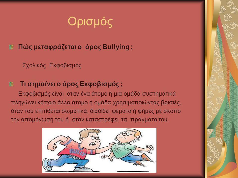 Ορισμός Πώς μεταφράζεται ο όρος Bullying ; Σχολικός Εκφοβισμός Τι σημαίνει ο όρος Εκφοβισμός ; Εκφοβισμός είναι όταν ένα άτομο ή μια ομάδα συστηματικά