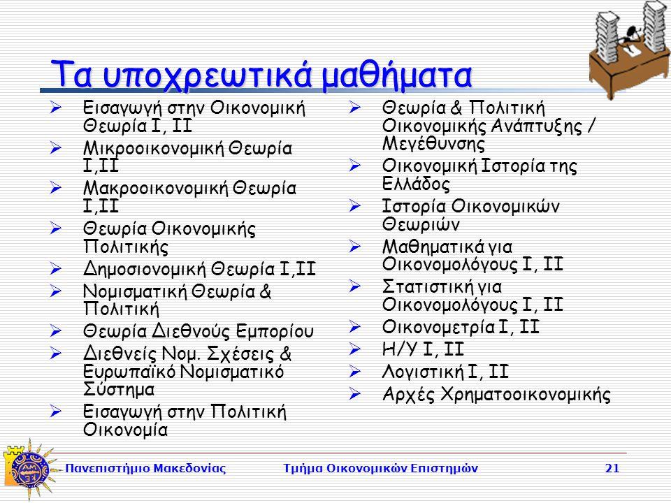 Πανεπιστήμιο ΜακεδονίαςΤμήμα Οικονομικών Επιστημών21 Τα υποχρεωτικά μαθήματα  Εισαγωγή στην Οικονομική Θεωρία Ι, ΙΙ  Μικροοικονομική Θεωρία Ι,ΙΙ  Μακροοικονομική Θεωρία Ι,ΙΙ  Θεωρία Οικονομικής Πολιτικής  Δημοσιονομική Θεωρία Ι,ΙΙ  Νομισματική Θεωρία & Πολιτική  Θεωρία Διεθνούς Εμπορίου  Διεθνείς Νομ.