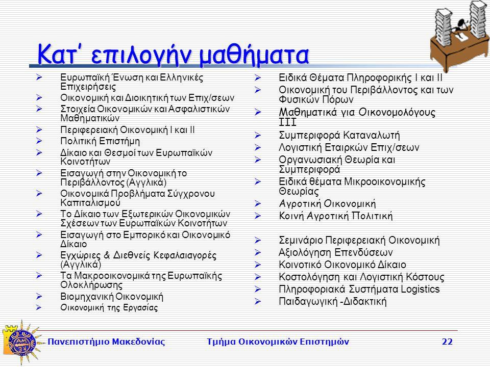 Πανεπιστήμιο ΜακεδονίαςΤμήμα Οικονομικών Επιστημών22 Κατ' επιλογήν μαθήματα  Ευρωπαϊκή Ένωση και Ελληνικές Επιχειρήσεις  Οικονομική και Διοικητική των Επιχ/σεων  Στοιχεία Οικονομικών και Ασφαλιστικών Μαθηματικών  Περιφερειακή Οικονομική Ι και ΙΙ  Πολιτική Επιστήμη  Δίκαιο και Θεσμοί των Ευρωπαϊκών Κοινοτήτων  Εισαγωγή στην Οικονομική το Περιβάλλοντος (Αγγλικά)  Οικονομικά Προβλήματα Σύγχρονου Καπιταλισμού  Το Δίκαιο των Εξωτερικών Οικονομικών Σχέσεων των Ευρωπαϊκών Κοινοτήτων  Εισαγωγή στο Εμπορικό και Οικονομικό Δίκαιο  Εγχώριες & Διεθνείς Κεφαλαιαγορές (Αγγλικά)  Τα Μακροοικονομικά της Ευρωπαϊκής Ολοκλήρωσης  Βιομηχανική Οικονομική  Οικονομική της Εργασίας  Ειδικά Θέματα Πληροφορικής Ι και ΙΙ  Οικονομική του Περιβάλλοντος και των Φυσικών Πόρων  Μαθηματικά για Οικονομολόγους ΙΙΙ  Συμπεριφορά Καταναλωτή  Λογιστική Εταιρκών Επιχ/σεων  Οργανωσιακή Θεωρία και Συμπεριφορά  Ειδικά θέματα Μικροοικονομικής Θεωρίας  Αγροτική Οικονομική  Κοινή Αγροτική Πολιτική  Σεμινάριο Περιφερειακή Οικονομική  Αξιολόγηση Επενδύσεων  Κοινοτικό Οικονομικό Δίκαιο  Κοστολόγηση και Λογιστική Κόστους  Πληροφοριακά Συστήματα Logistics  Παιδαγωγική -Διδακτική
