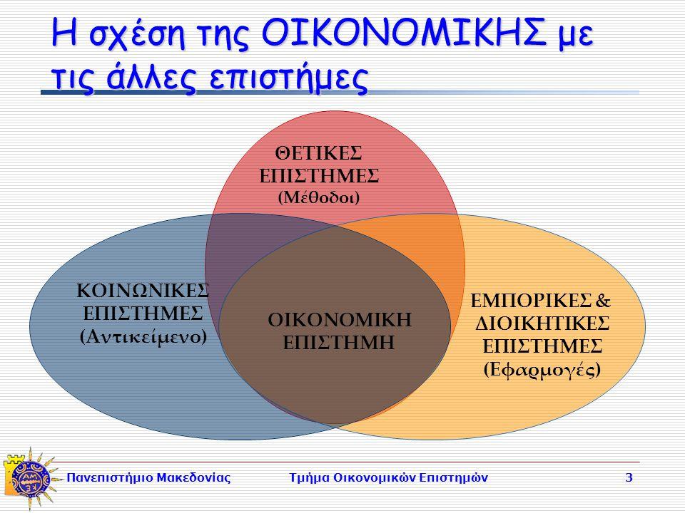 Πανεπιστήμιο ΜακεδονίαςΤμήμα Οικονομικών Επιστημών3 Η σχέση της ΟΙΚΟΝΟΜΙΚΗΣ με τις άλλες επιστήμες ΘΕΤΙΚΕΣ ΕΠΙΣΤΗΜΕΣ (Μέθοδοι) ΕΜΠΟΡΙΚΕΣ & ΔΙΟΙΚΗΤΙΚΕΣ