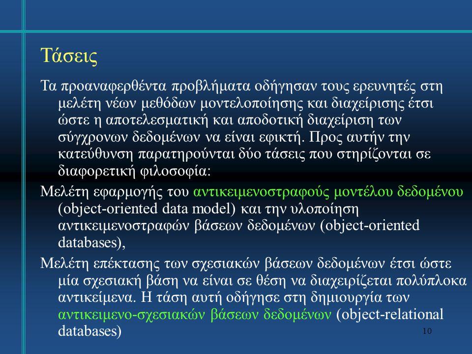 11 Αντικειμενοστραφές Μοντέλο Το αντικειμενοστραφές μοντέλο δεδομένων έχει εφαρμοσθεί με επιτυχία στις αντικειμενοστραφείς γλώσσες προγραμματισμού όπως Smalltalk, C++ και Java Η υλοποίηση μίας εφαρμογής με μία αντικειμενοστραφή γλώσσα προγραμματισμού διαφέρει σημαντικά από την υλοποίηση της ίδιας εφαρμογής σε μία διαδικαστική γλώσσα.