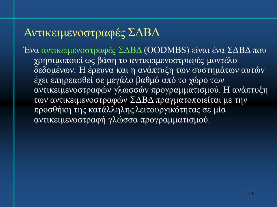 24 Αντικειμενοστραφές ΣΔΒΔ Οι βασικές δυνατότητες που πρέπει να έχει ένα αντικειμενοστραφές ΣΔΒΔ προσδιορίζονται σύμφωνα με δύο κριτήρια: α) το σύστημα πρέπει να είναι αντικειμενοστραφές και β) πρέπει να παρέχει όλες τις δυνατότητες ενός ΣΔΒΔ.