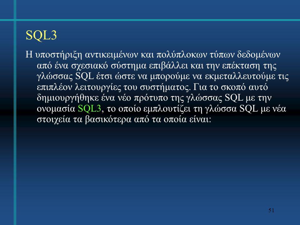 52 SQL3 υποστήριξη τύπου γραμμής, υποστήριξη αντικειμένων και εννοιών του αντικειμενοστραφούς μοντέλου, υποστήριξη αφαιρετικών τύπων δεδομένων, τύποι δεδομένων οριζόμενοι από το χρήστη, διαδικασίες και συναρτήσεις οριζόμενες από το χρήστη, υποστήριξη μεγάλων αντικειμένων, αυτόματη εκτέλεση εντολών μετά ή πριν από εισαγωγή, διαγραφή ή ενημέρωση δεδομένων.