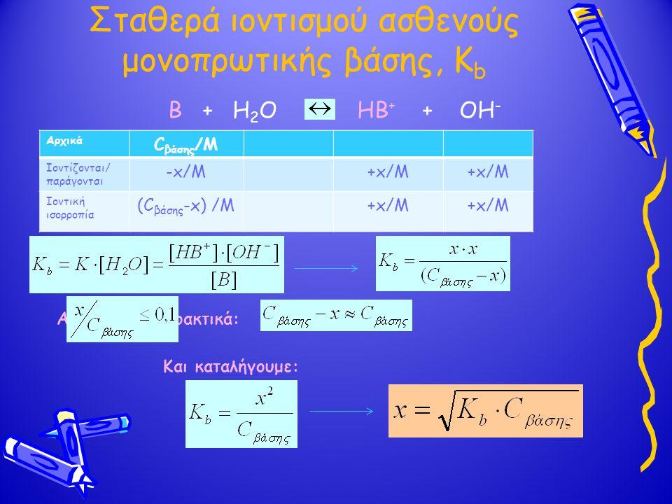 Σταθερά ιοντισμού ασθενούς μονοπρωτικής βάσης, K b Αν πρακτικά: Και καταλήγουμε: Β + Η 2 Ο ΗΒ + + ΟΗ - Αρχικά C βάσης /M Ιοντίζονται/ παράγονται -aC/M+aC/M Ιοντική ισορροπία (C βάσης -aC) /M+aC/M