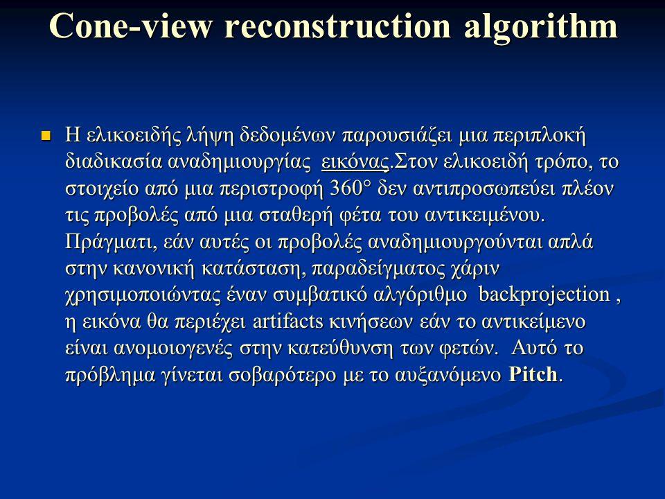 Cone-view reconstruction algorithm Η ελικοειδής λήψη δεδομένων παρουσιάζει μια περιπλοκή διαδικασία αναδημιουργίας εικόνας.Στον ελικοειδή τρόπο, το στ