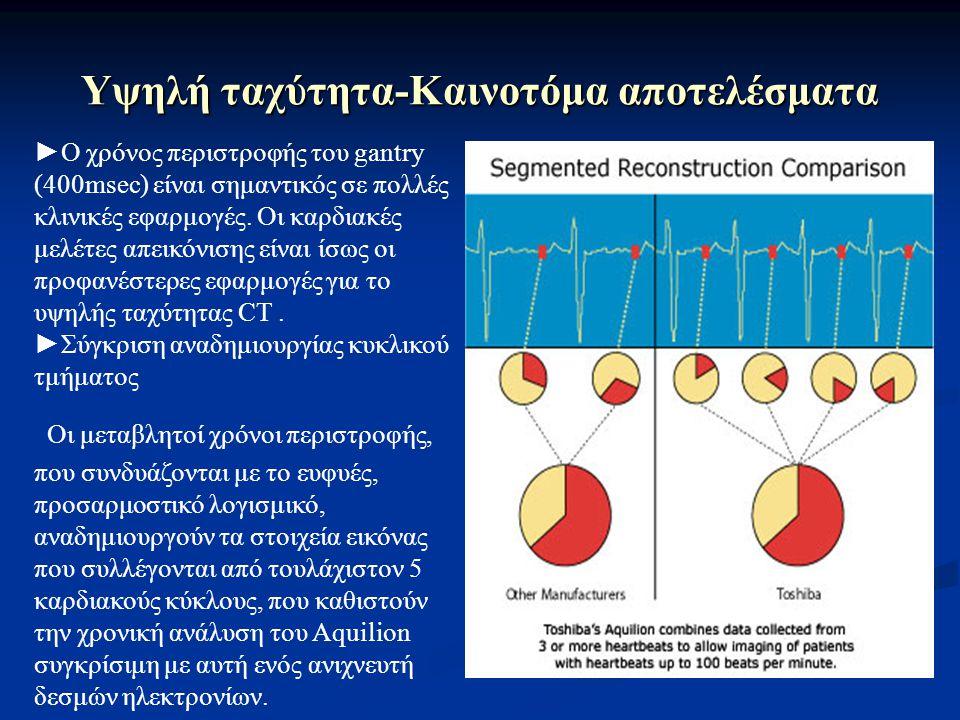 Υψηλή ταχύτητα-Καινοτόμα αποτελέσματα ►Ο χρόνος περιστροφής του gantry (400msec) είναι σημαντικός σε πολλές κλινικές εφαρμογές. Οι καρδιακές μελέτες α
