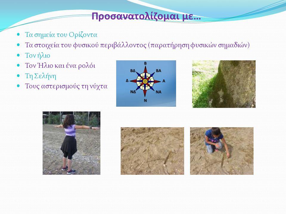 Προσανατολίζομαι με… Τα σημεία του Ορίζοντα Τα στοιχεία του φυσικού περιβάλλοντος (παρατήρηση φυσικών σημαδιών) Τον ήλιο Τον Ήλιο και ένα ρολόι Τη Σελ