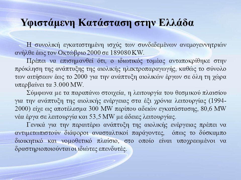 Υφιστάμενη Κατάσταση στην Ελλάδα Η συνολική εγκατεστημένη ισχύς των συνδεδεμένων ανεμογεννητριών ανήλθε έως τον Οκτώβριο 2000 σε 189080 KW. Πρέπει να