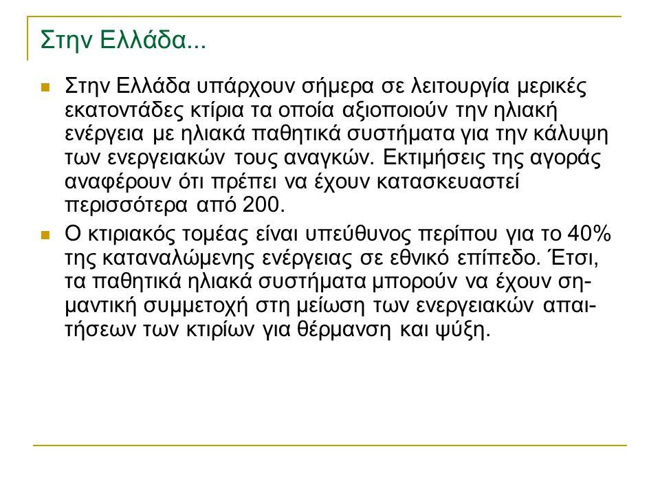 Στην Ελλάδα... Στην Ελλάδα υπάρχουν σήµερα σε λειτουργία µερικές εκατοντάδες κτίρια τα οποία αξιοποιούν την ηλιακή ενέργεια µε ηλιακά παθητικά συστήµα