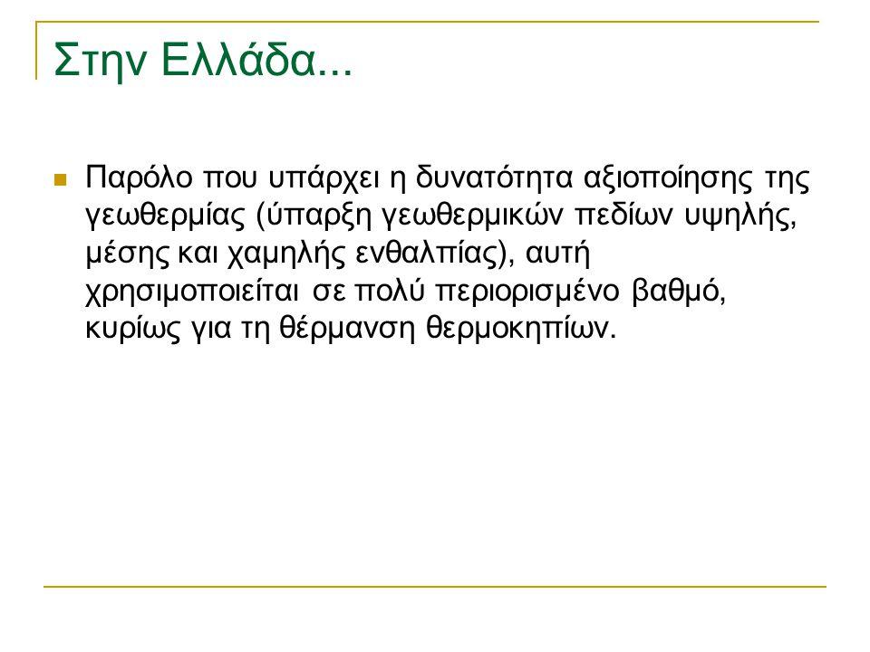 Στην Ελλάδα... Παρόλο που υπάρχει η δυνατότητα αξιοποίησης της γεωθερμίας (ύπαρξη γεωθερμικών πεδίων υψηλής, μέσης και χαμηλής ενθαλπίας), αυτή χρησιμ