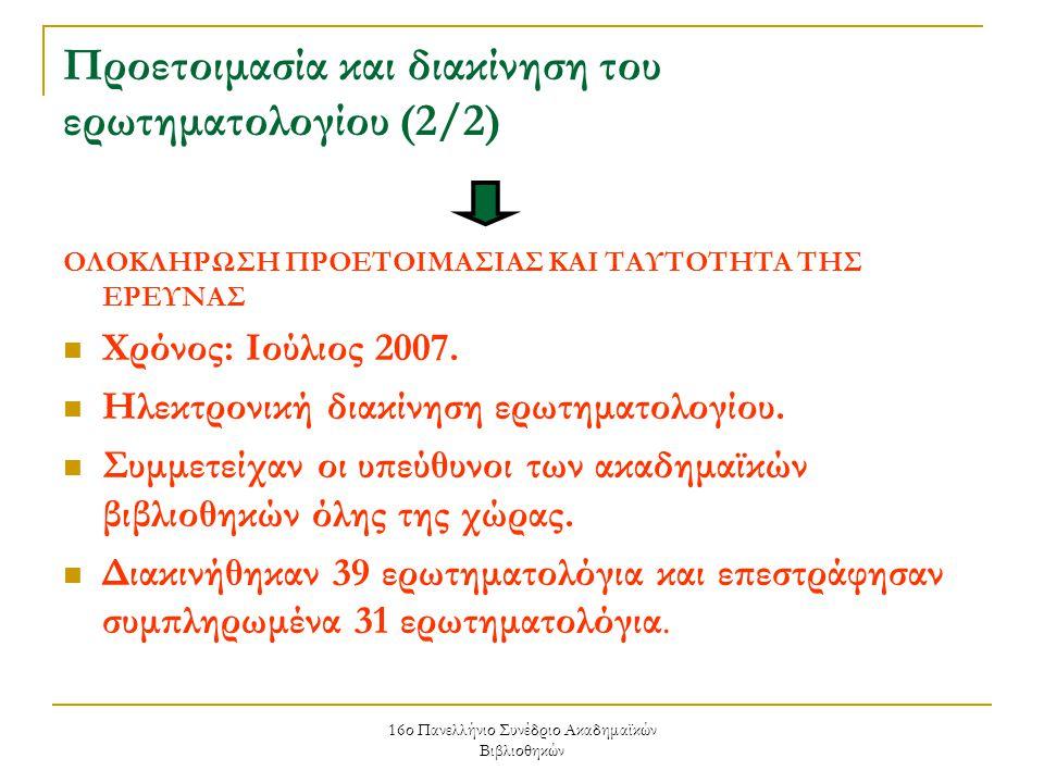 16ο Πανελλήνιο Συνέδριο Ακαδημαϊκών Βιβλιοθηκών Προετοιμασία και διακίνηση του ερωτηματολογίου (2/2) ΟΛΟΚΛΗΡΩΣΗ ΠΡΟΕΤΟΙΜΑΣΙΑΣ ΚΑΙ ΤΑΥΤΟΤΗΤΑ ΤΗΣ ΕΡΕΥΝΑΣ Χρόνος: Ιούλιος 2007.