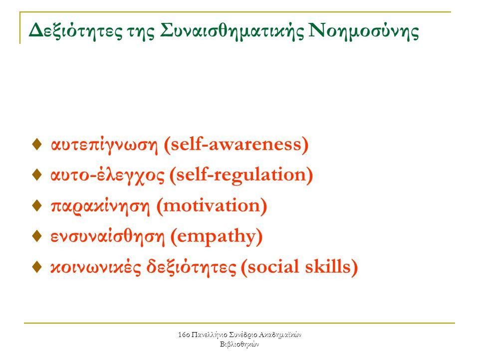 16ο Πανελλήνιο Συνέδριο Ακαδημαϊκών Βιβλιοθηκών Δεξιότητες της Συναισθηματικής Νοημοσύνης  αυτεπίγνωση (self-awareness)  αυτο-έλεγχος (self-regulation)  παρακίνηση (motivation)  ενσυναίσθηση (empathy)  κοινωνικές δεξιότητες (social skills)