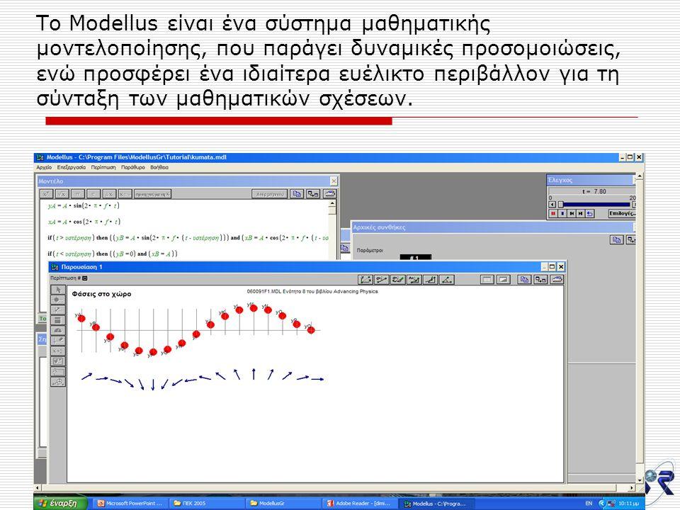 7/12/200530 Το Modellus είναι ένα σύστημα μαθηματικής μοντελοποίησης, που παράγει δυναμικές προσομοιώσεις, ενώ προσφέρει ένα ιδιαίτερα ευέλικτο περιβάλλον για τη σύνταξη των μαθηματικών σχέσεων.