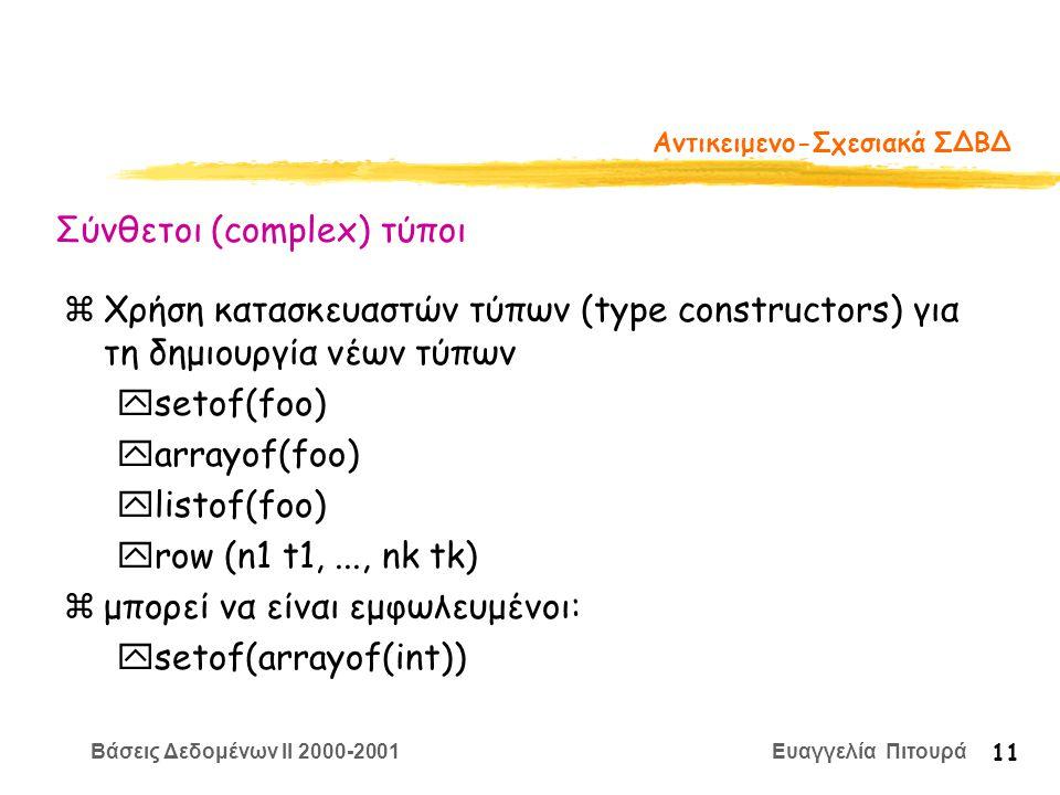 Βάσεις Δεδομένων II 2000-2001 Ευαγγελία Πιτουρά 11 Αντικειμενο-Σχεσιακά ΣΔΒΔ zΧρήση κατασκευαστών τύπων (type constructors) για τη δημιουργία νέων τύπων ysetof(foo) yarrayof(foo) ylistof(foo) yrow (n1 t1,..., nk tk) zμπορεί να είναι εμφωλευμένοι: ysetof(arrayof(int)) Σύνθετοι (complex) τύποι