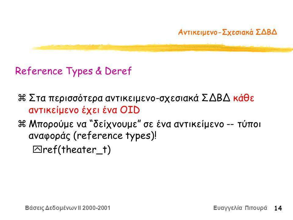 Βάσεις Δεδομένων II 2000-2001 Ευαγγελία Πιτουρά 14 Αντικειμενο-Σχεσιακά ΣΔΒΔ zΣτα περισσότερα αντικειμενο-σχεσιακά ΣΔΒΔ κάθε αντικείμενο έχει ένα OID zΜπορούμε να δείχνουμε σε ένα αντικείμενο -- τύποι αναφοράς (reference types).