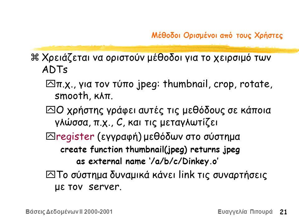 Βάσεις Δεδομένων II 2000-2001 Ευαγγελία Πιτουρά 21 Μέθοδοι Ορισμένοι από τους Χρήστες zΧρειάζεται να οριστούν μέθοδοι για το χειρσιμό των ADTs yπ.χ., για τον τύπο jpeg: thumbnail, crop, rotate, smooth, κλπ.
