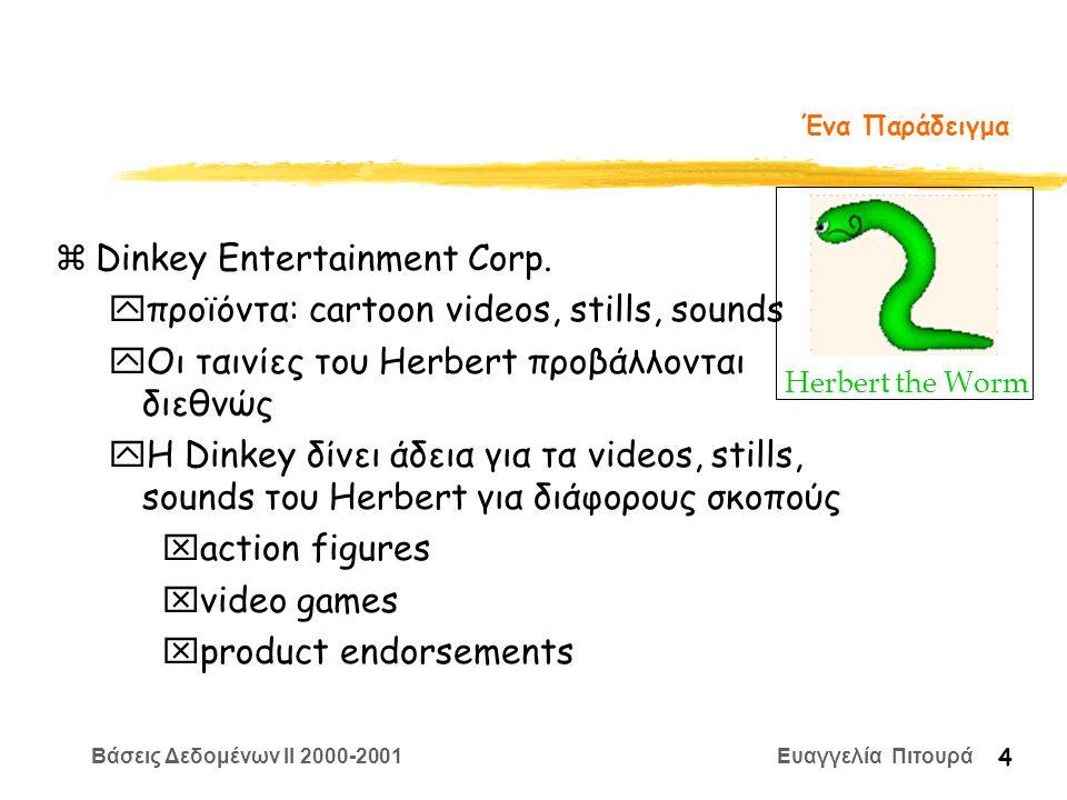 Βάσεις Δεδομένων II 2000-2001 Ευαγγελία Πιτουρά 4 Ένα Παράδειγμα zDinkey Entertainment Corp.